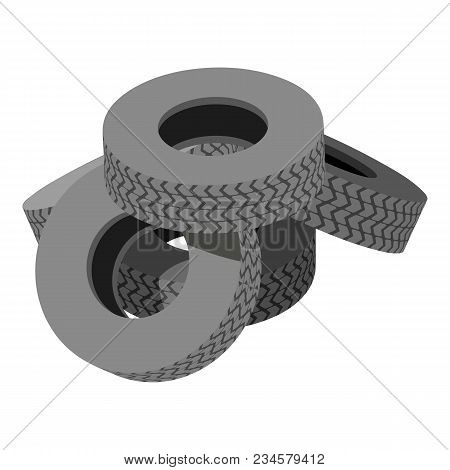 Pile Tyre Icon. Isometric Illustration Of Pile Tyre Vector Icon For Web
