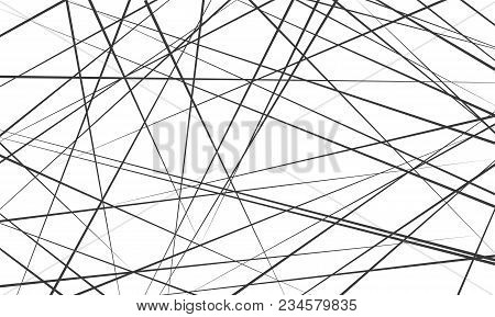 Chaotic Abstract Lines Abstract Geometric Pattern Background. Vector Black Diagonal Crossed Lines Fo