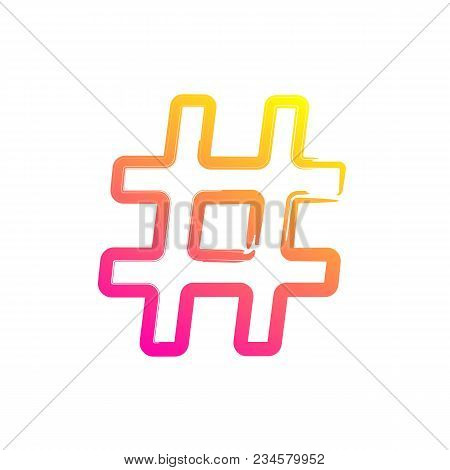 Hashtag Vector Icon For Social Network Or Internet Application. Hashtag Isolated Red And Yellow Line