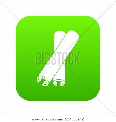 Cinnamon Sticks Icon Digital Green For Any Design Isolated On White Vector Illustration