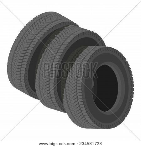 Automobile Tyre Icon. Isometric Illustration Of Automobile Tyre Vector Icon For Web