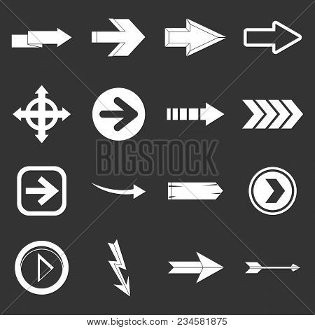 Arrow Icons Set Vector White Isolated On Grey Background