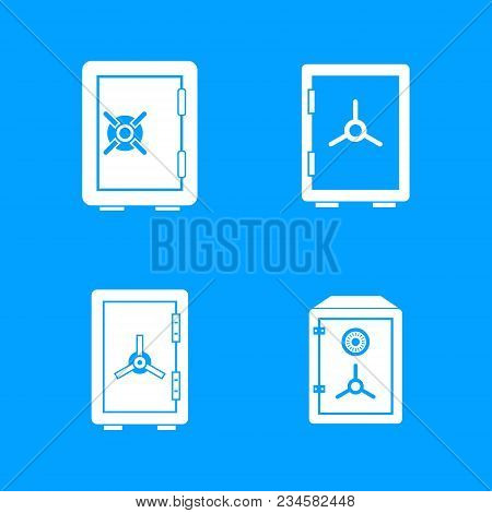 Safe Icon Set. Simple Set Of Safe Vector Icons For Web Design Isolated On Blue Background