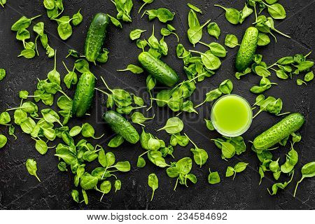Cucumber, Celeriac. Vegetables For Greeny Organic Smoothy For Sport Diet On Dark Table Background To