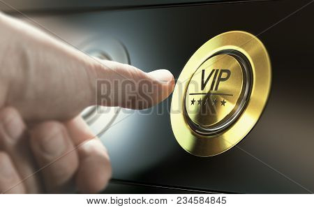 Man With Private Access To Vip Services Pressing A Button To Ask A Concierge. Composite Image Betwee