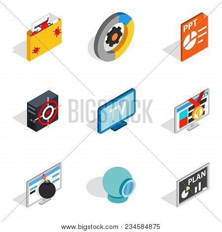 Videotape Icons Set. Isometric Set Of 9 Videotape Vector Icons For Web Isolated On White Background
