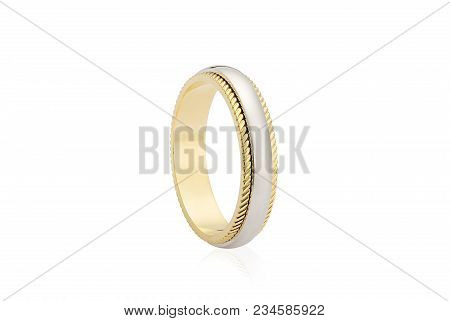 Silver And Gold Ring Isolated On White Background. Groom Fashion Jewelry