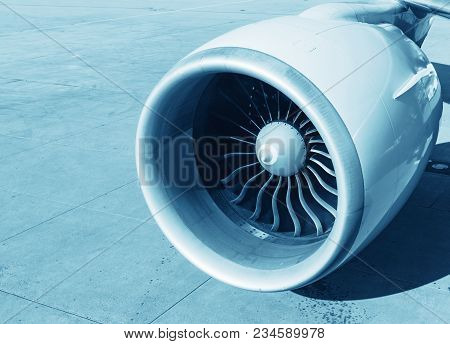 Detailed Insigh Turbine Blades Of An Aircraft Jet Engine, Business Jet Engine Close Up High Detailed