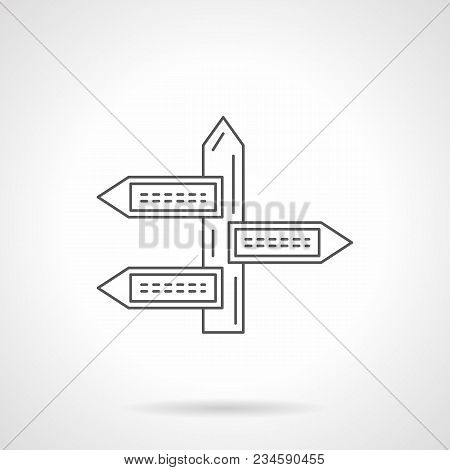 Symbol Of Multidirectional Guidepost. Address Sign Or Information Pointer. Flat Black Line Vector Ic
