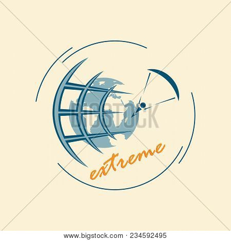 Emblem Of Extreme Sports. Extreme Tourism Around The World. Logo For Travel Agencies. The Paratroope