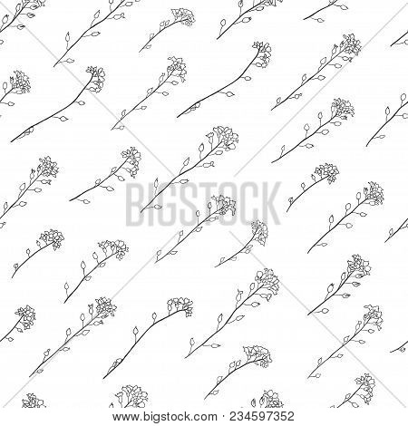 Line Of Delicate Forget-me-nots Flowers Seamless Pattern Background Black On White Color