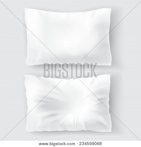 Vector Realistic Set With Blank White Pillows, Comfortable, Soft, Clean And Crumpled, Top View Isola