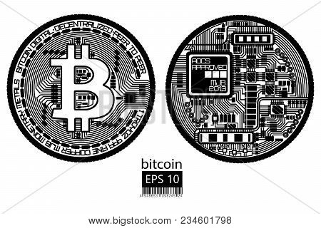 Bitcoin. Physical Bit Coin. Digital Currency. Cryptocurrency. Double Sided Coin With Bitcoin Symbol