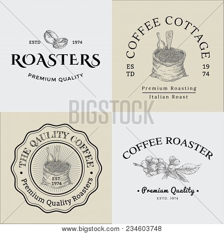 Set Of Vector Vintage Coffee Logo And Illustration Drawing Engraving Icon 01, Used As Logo Or Icon I