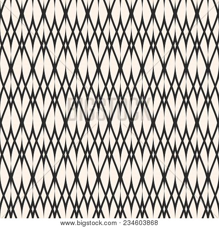 Vector Ornamental Seamless Pattern, Thin Wavy Lines. Texture Of Mesh, Lace, Weaving, Smooth Lattice.