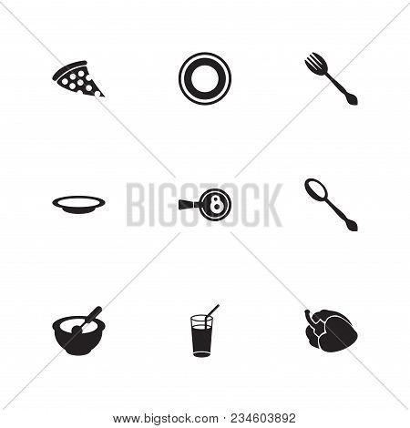 Cuisine Icon Set And Fork With Pizza, Cooking Egg And Spoon. Dishware Related Cuisine Icon Vector It