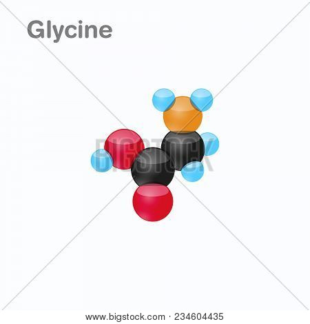 Molecule Of Glycine, Gly, An Amino Acid Used In The Biosynthesis Of Proteins, Vector Illustration