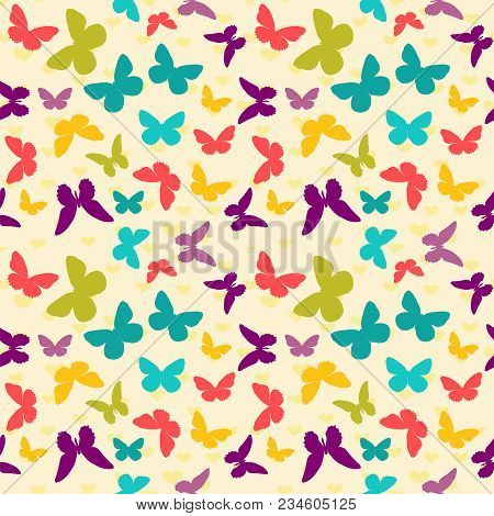 Seamless Colorful Pattern. Vector Background With Flat Butterflies And Hearts. Patterned Wallpaper F