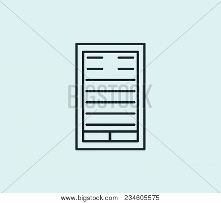 Ebook Icon Line Isolated On Clean Background. Electronic Book Concept Drawing Icon Line In Modern St