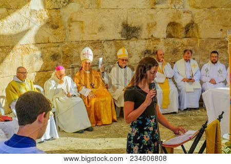 Emmaus, Israel - April 2, 2018: Easter Monday Solemn Mass At The Basilica Of Emmaus-nicopolis, With