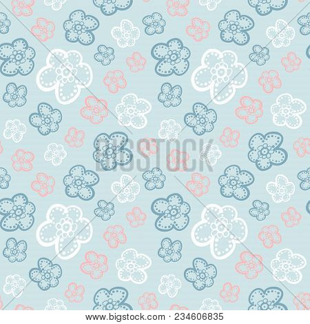 Seamless Colorful Floral Pattern. Vector Background With Abstract Flowers. Patterned Paper Wallpaper