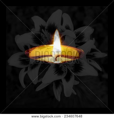 Condolence Card. Remembrance Day Mourning Memorial Funeral Peace Crematorium Concept. Close Up Horiz