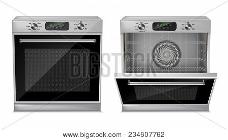 Vector 3d Realistic Compact Oven With Digital Display, Timer, Pre-set Cooking Programs, With Open An