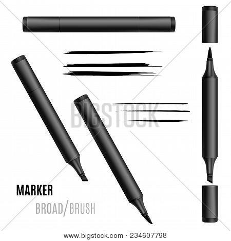 Black Marker Set. Double-sided Realistic Marker. Eps 10