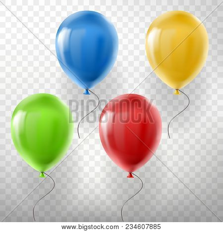 Vector Set Of Realistic Flying Helium Balloons, Multicolored, Red, Yellow, Green And Blue, Isolated