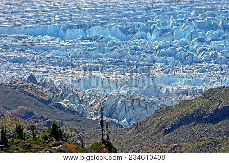 Spectacular Aerial View Of Salmon Glacier Icefield In Late Summer, Fifth Largest Non-polar Glacier I