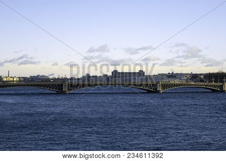 View Of The Beautiful City Of St. Petersburg, The Neva River, The Bridge And The Beautiful Sky.