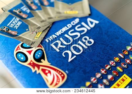 SAO PAULO, BRAZIL - CIRCA MARCH 2017: Panini FIFA World Cup Russia 2018 Official Licensed Sticker Album