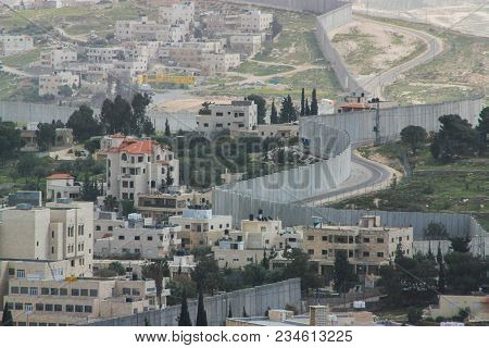 Separation Wall Between The Occupied Palestinian Territory's And Israel, As Seen From A Roof In The
