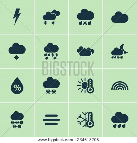 Climate Icons Set With Temperature, Light Snow Shower, Snowfall And Other Voltage Elements. Isolated