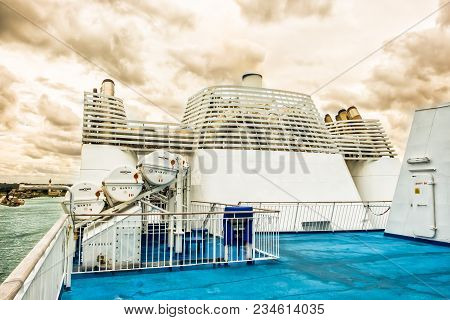 Ouistreham, France, Sept 2017, Funnels On A Ferry Moored At The Port Ready To Depart For England