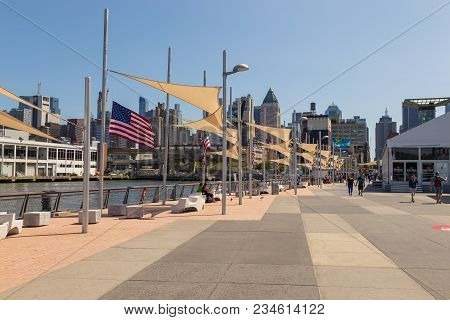 New York, Nyc, Usa- August 30, 2017: Entrance To The Uss Intrepid Sea, Air And Space Museum, A Histo