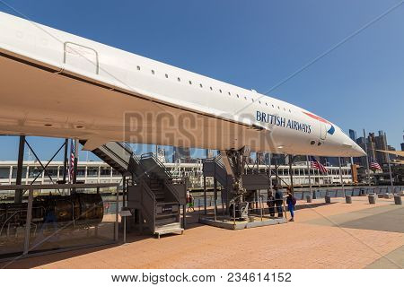 New York, Nyc, Usa- August 30, 2017: Concorde On The Deck Of The Uss Intrepid Sea, Air And Space Mus