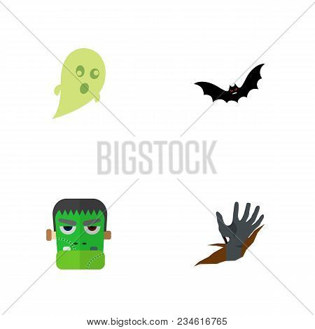 Icon Flat Celebrate Set Of Ghost, Zombie, Corpse Hand Vector Objects. Also Includes Zombie, Corpse,