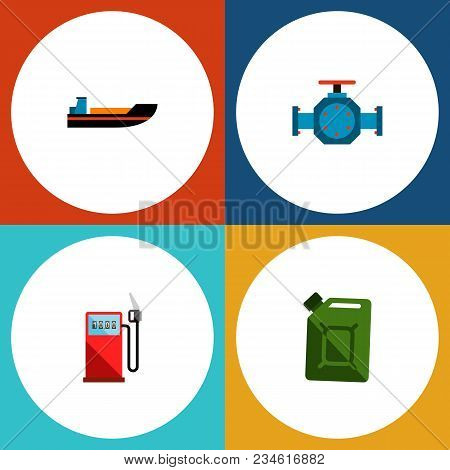 Icon Flat Oil Set Of Gas Station, Jerrycan, Pipe Pump Valve And Other Vector Objects. Also Includes