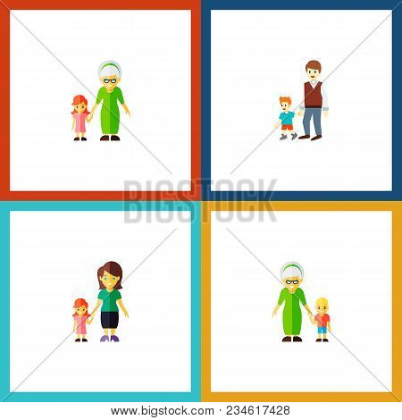 Icon Flat Family Set Of Grandson, Gril, Grandma Vector Objects. Also Includes Family, Grandma, Boy E