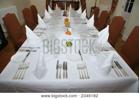 Restaurant Table Set For Celebration Dinner