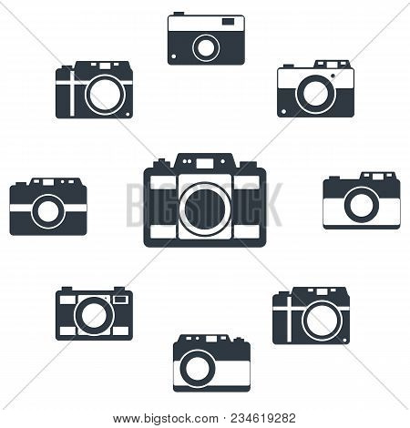 Photo Camera Icon Set For Web Sites And User Interface. Stock Flat Vector Illustration.