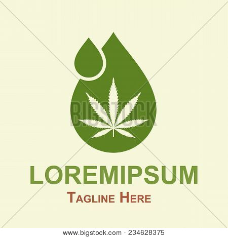 Illustration Of Oil Drop With A Marijuana Leaf. Medical Cannabis Oil. Cannabis Extract. Icon Logo Te