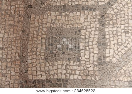 Old Mosaic, Background From Greek Mosaic. Mosaic From The Museum On The Island Of Sicily, Italy. For
