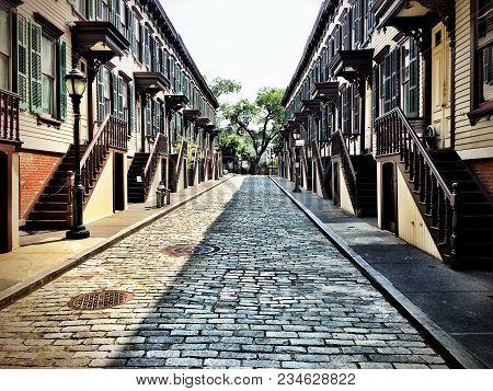 Cobblestone Street In Harlem In New York