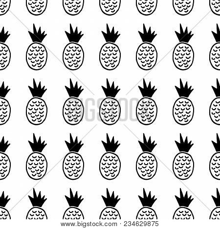 Cute Cartoon Pineapple Pattern With Hand Drawn Pineapples. Sweet Vector Black And White Pineapple Pa