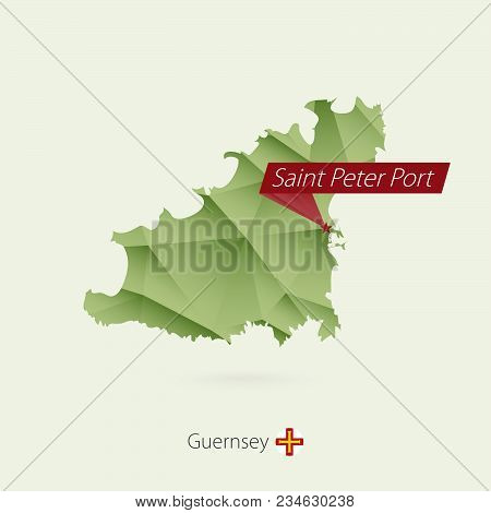 Green Gradient Low Poly Map Of Guernsey With Capital Saint Peter Port