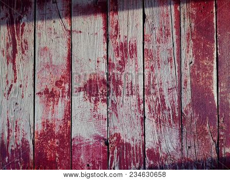 Purple Or Violet Burgundy Wooden Background. Close-up Wall Or Floor Wooden Plank Panel Or Board As P