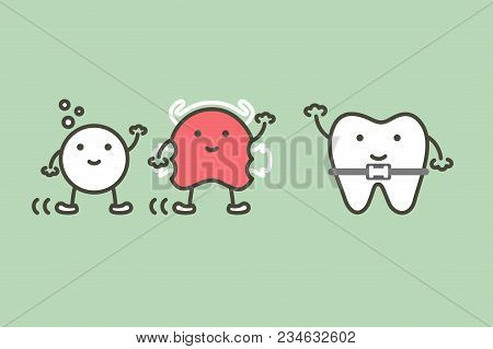 Happy Orthodontic Teeth Or Dental Braces And Friend Have Retainer And Effervescent Tablet - Tooth Ca