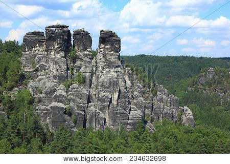 Sandstone rock formation at Bastei, Germany